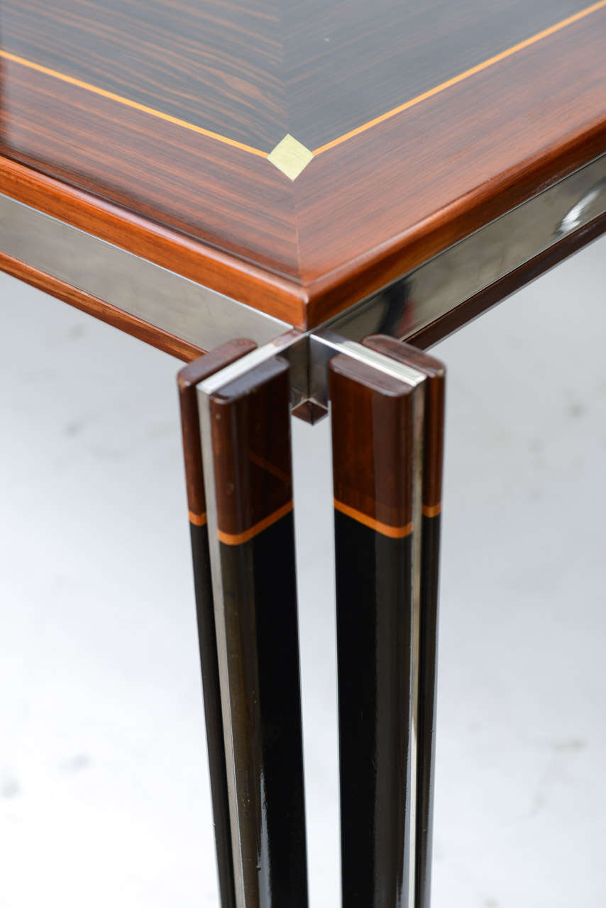 Exotic Wood Inlay And Chrome Grand Desk Table At 1stdibs