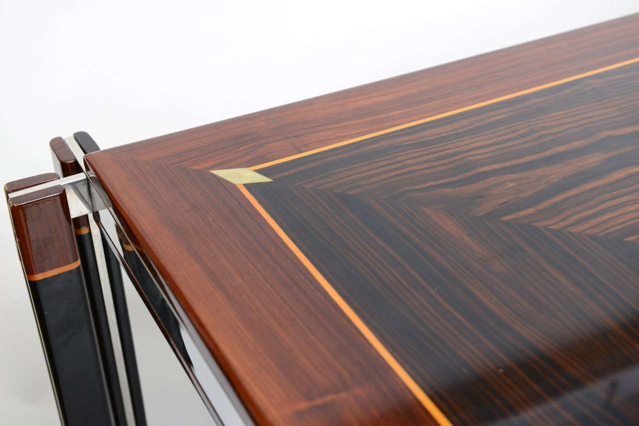 Exotic Wood Inlay Chrome Grand Desk Table For 3