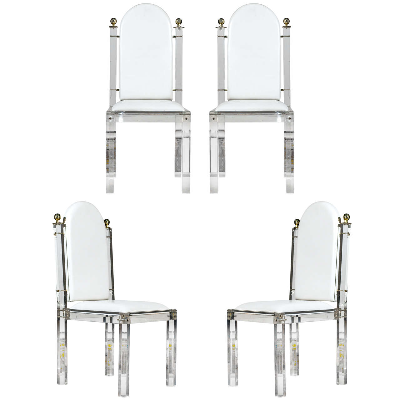 four jansen lucite and brass chairs at 1stdibs
