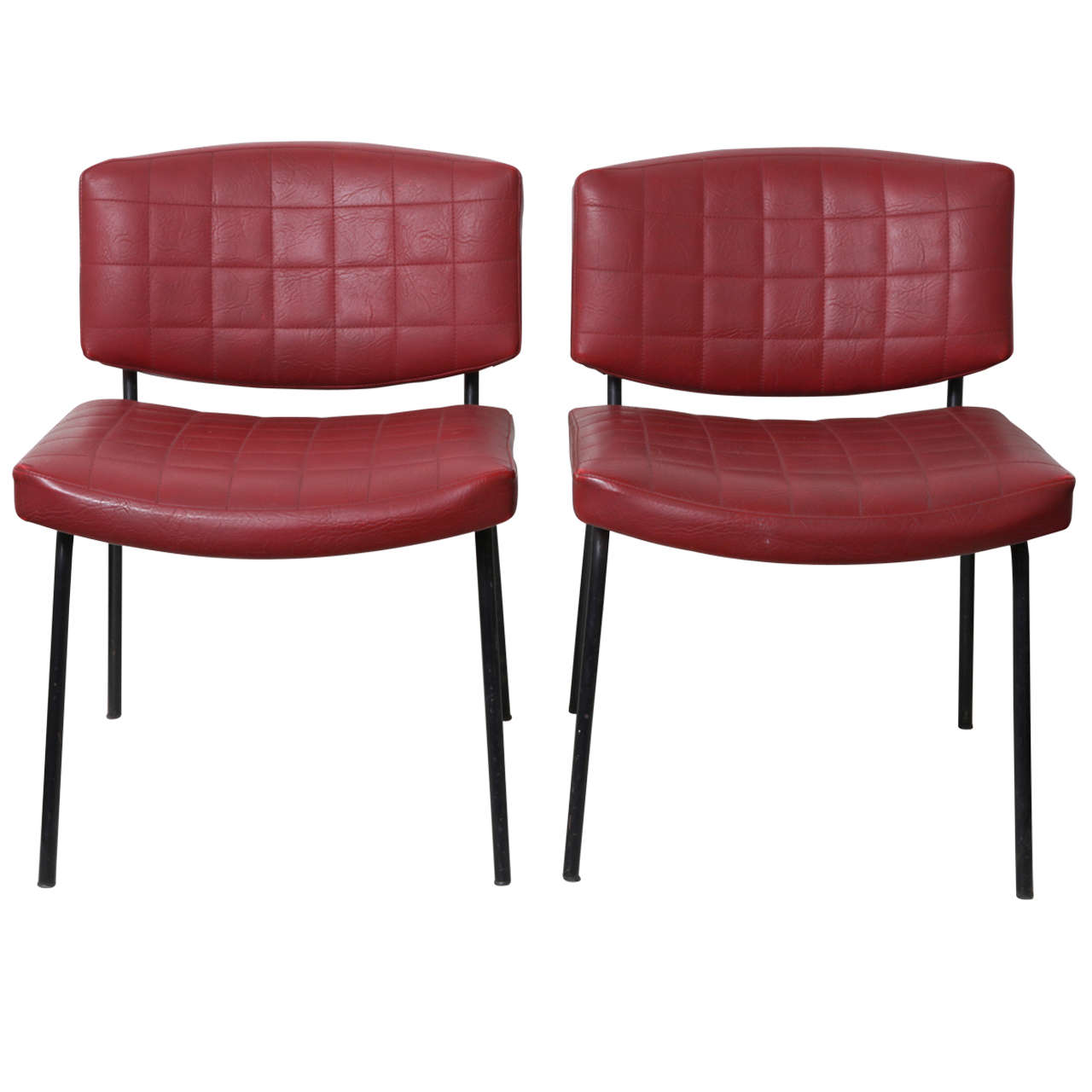 red vinyl lounge chairs by pierre guariche at 1stdibs. Black Bedroom Furniture Sets. Home Design Ideas