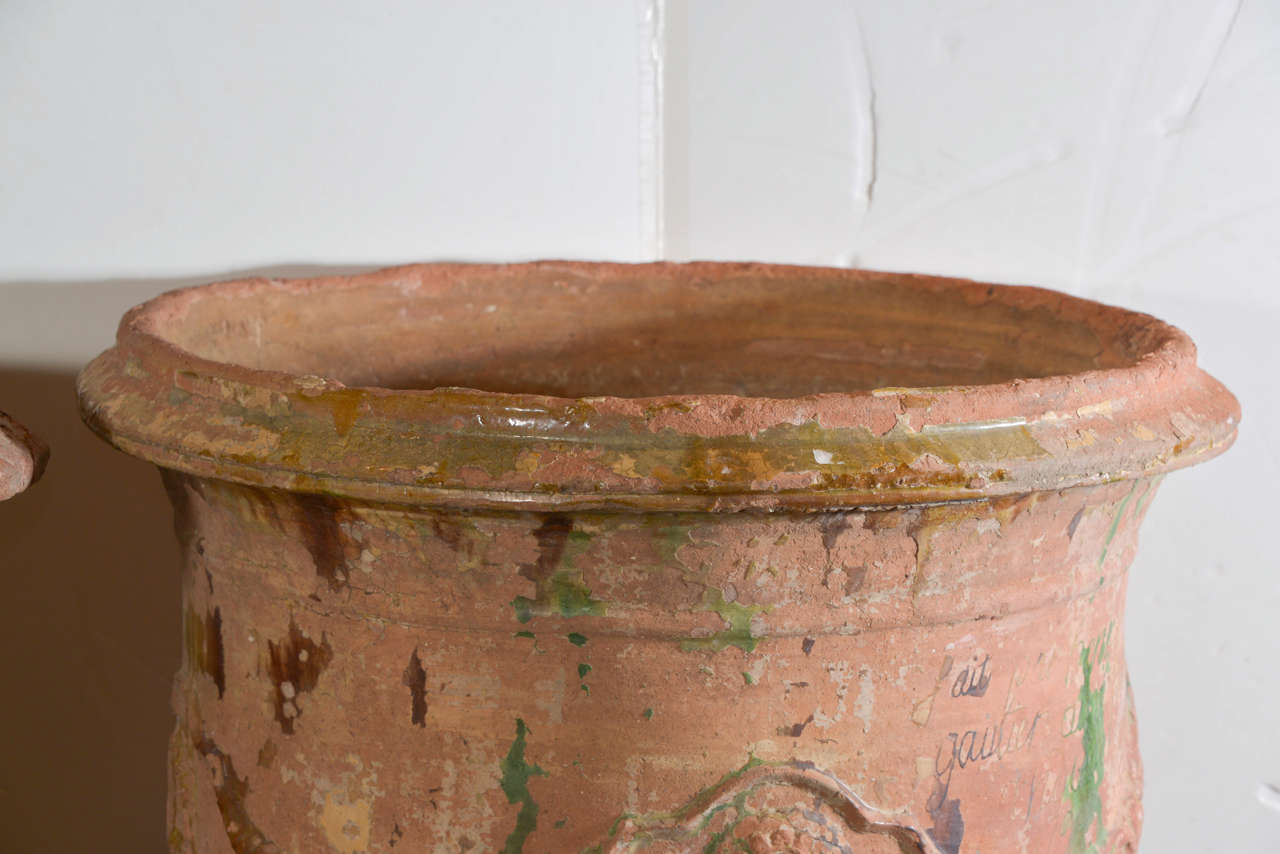 French Provincial Pair of Large 18th Century Anduze Jars For Sale