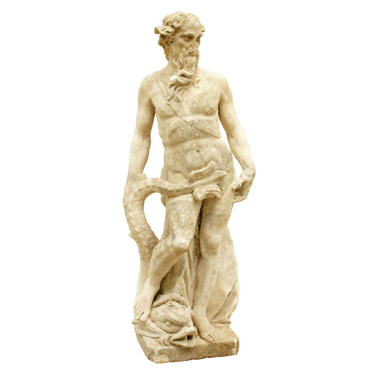 Cast Stone Statue Of Neptune At 1stdibs