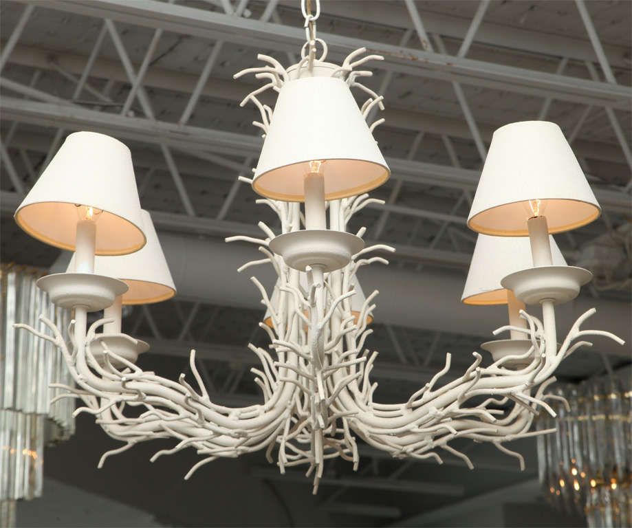 Red Coral Chandelier With 3 Lights: White Faux Coral Branch Chandelier At 1stdibs