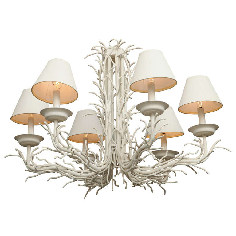 White Faux Coral Branch Chandelier At 1stdibs