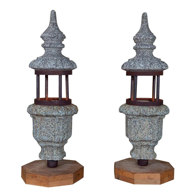 Pair of Antique Stone Lanterns