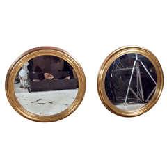 Pair of Round Gilt Italian Mirrors