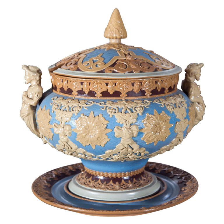 monumental stoneware villeroy and boch mettlach punch bowl. Black Bedroom Furniture Sets. Home Design Ideas