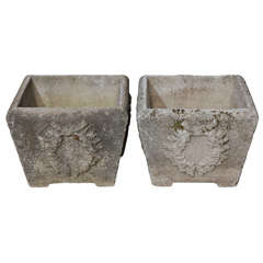 Square Cast Cement Planter With Laurel Leaf Pattern