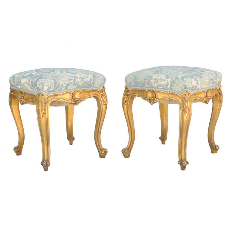 Pair Of Giltwood Louis Xv Stools At 1stdibs