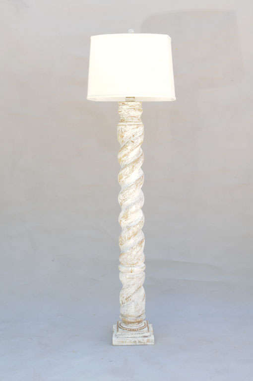 Pair of Spiral Column Wooden Floor Lamps at 1stdibs