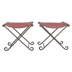 Pair of Iron Stools with Leather Seats