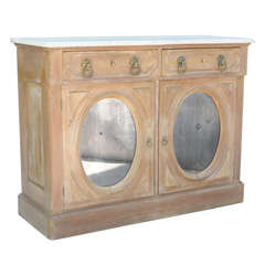 Marble Top 19c Credenza with Oval Mirrored Doors