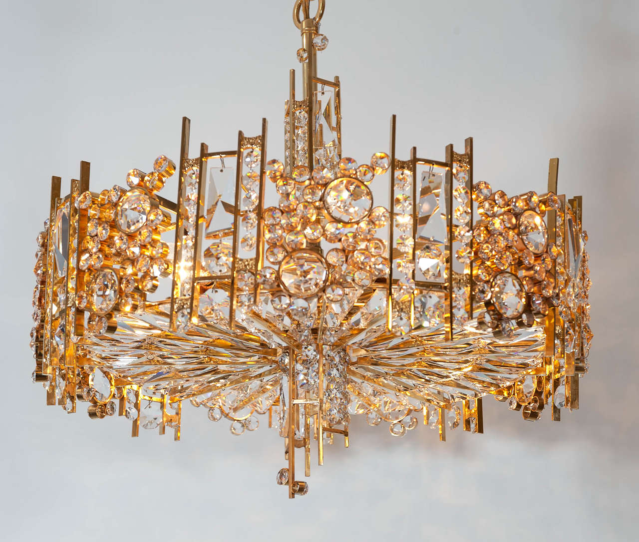 Palwa Gold Plated Chandelier With Austrian Crystal For