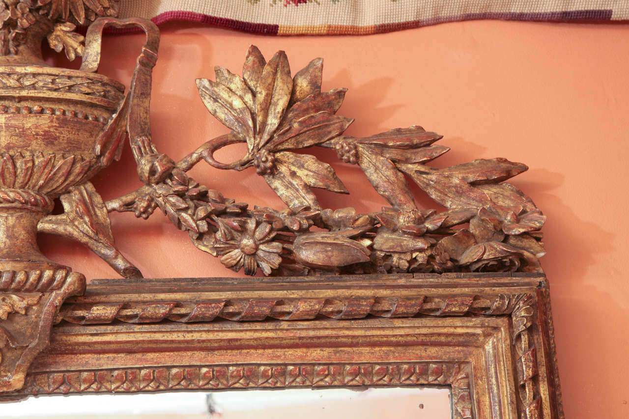 Wood Louis XVI Console Mirror with Urn and Foliate Swagged Crest For Sale
