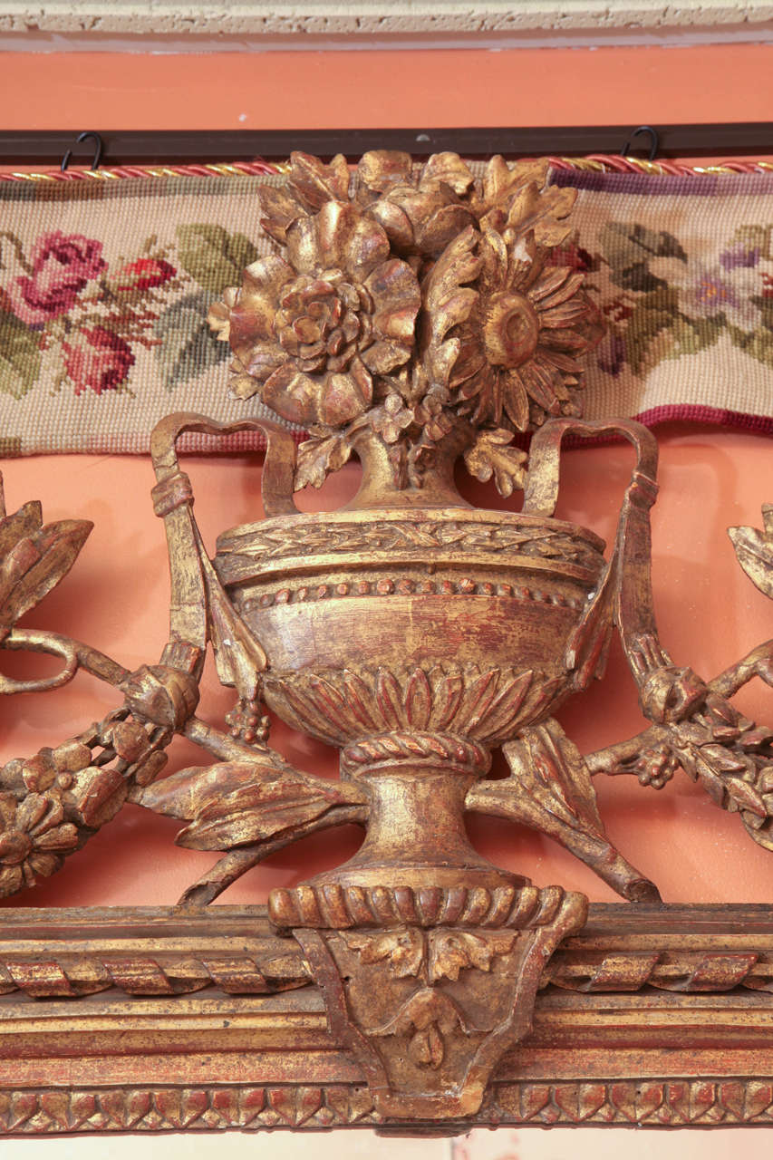 Louis XVI Console Mirror with Urn and Foliate Swagged Crest For Sale 1