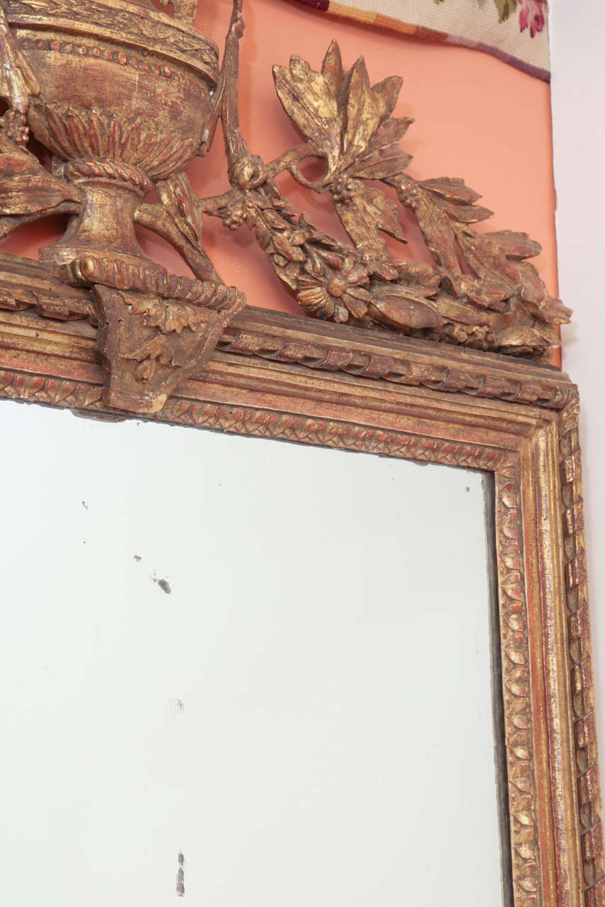 Louis XVI Console Mirror with Urn and Foliate Swagged Crest For Sale 2