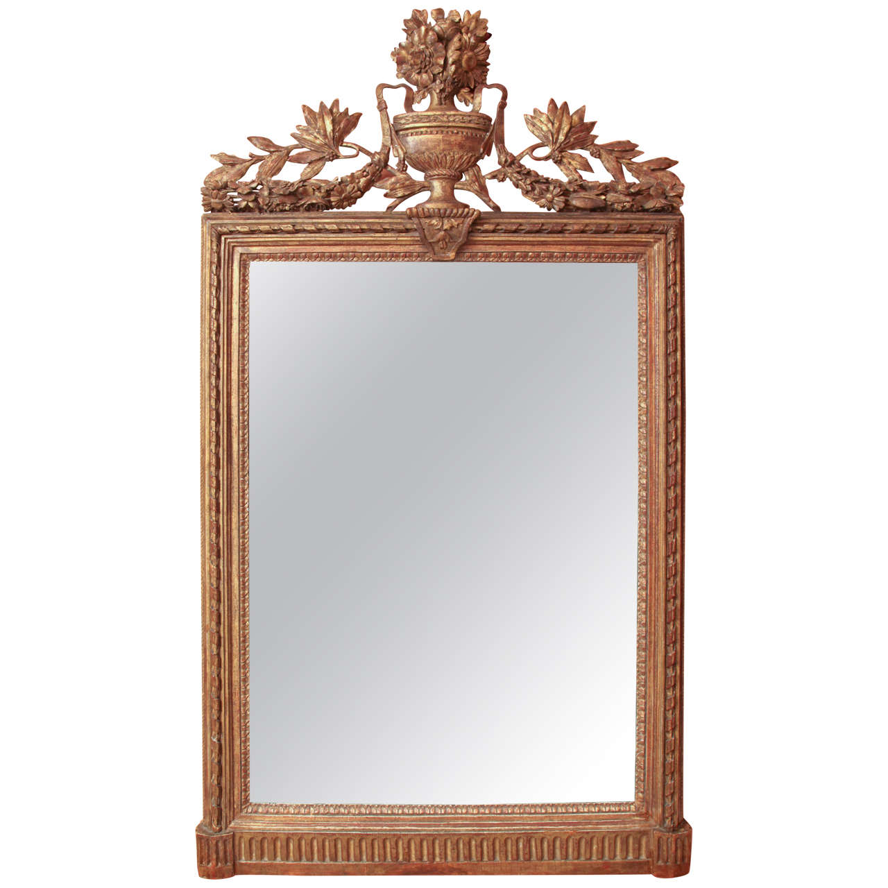 Louis XVI Console Mirror with Urn and Foliate Swagged Crest