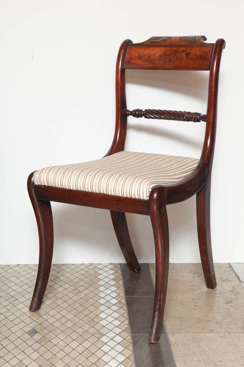 Set of Eight Regency Dining Chairs with Rope Twist Back For Sale at 1stdibs