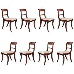 Set of Eight Regency Dining Chairs with Rope Twist Back
