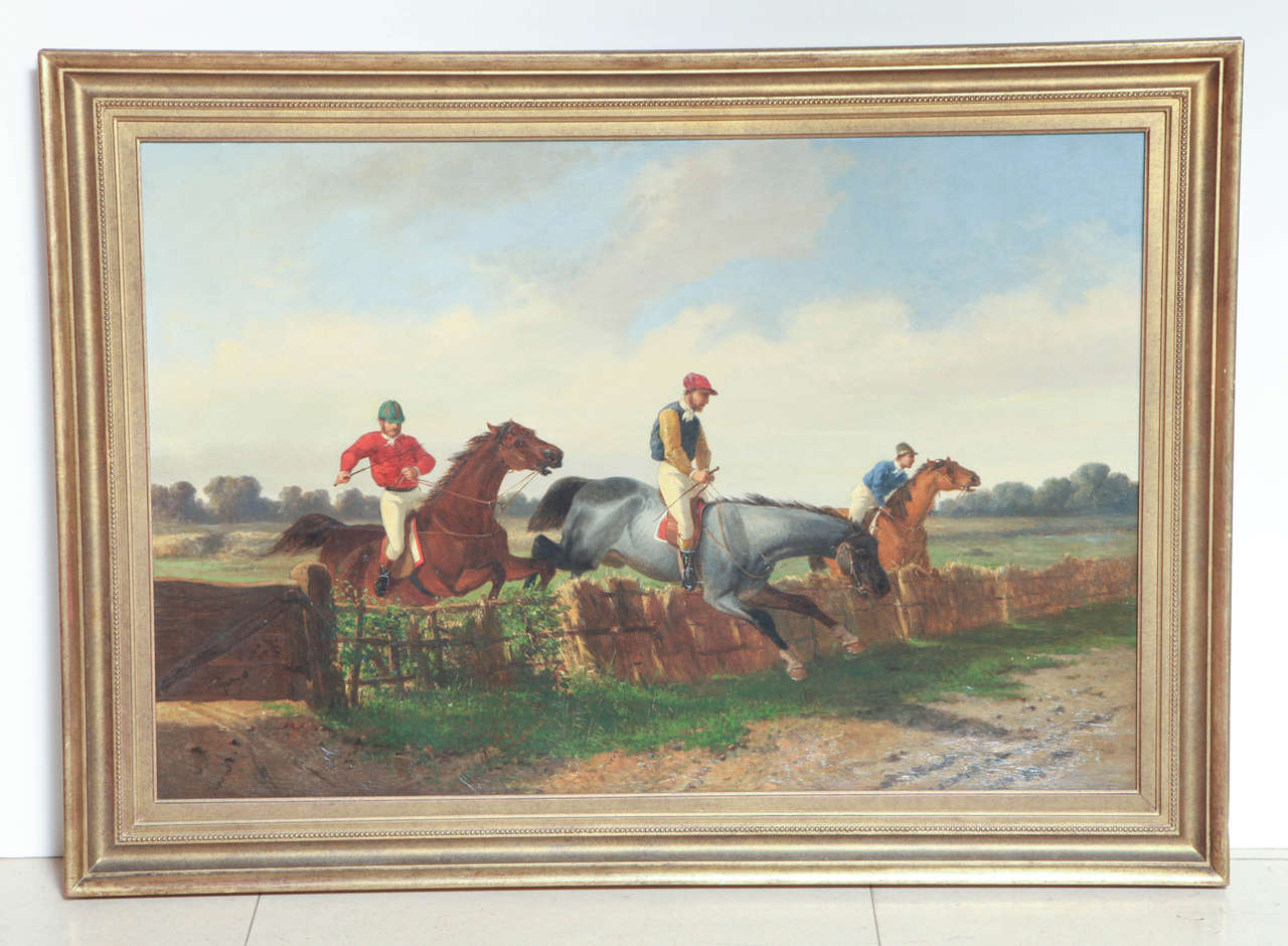 Pair of english equestrian paintings for sale at 1stdibs a good pair of large scale 19th century english school oil on canvas equestrian scenes jeuxipadfo Gallery