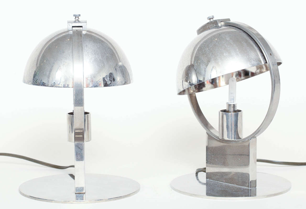 Boris Jean Lacroix Pair of French Art Deco Nickeled-Brass Lamps In Excellent Condition For Sale In New York, NY