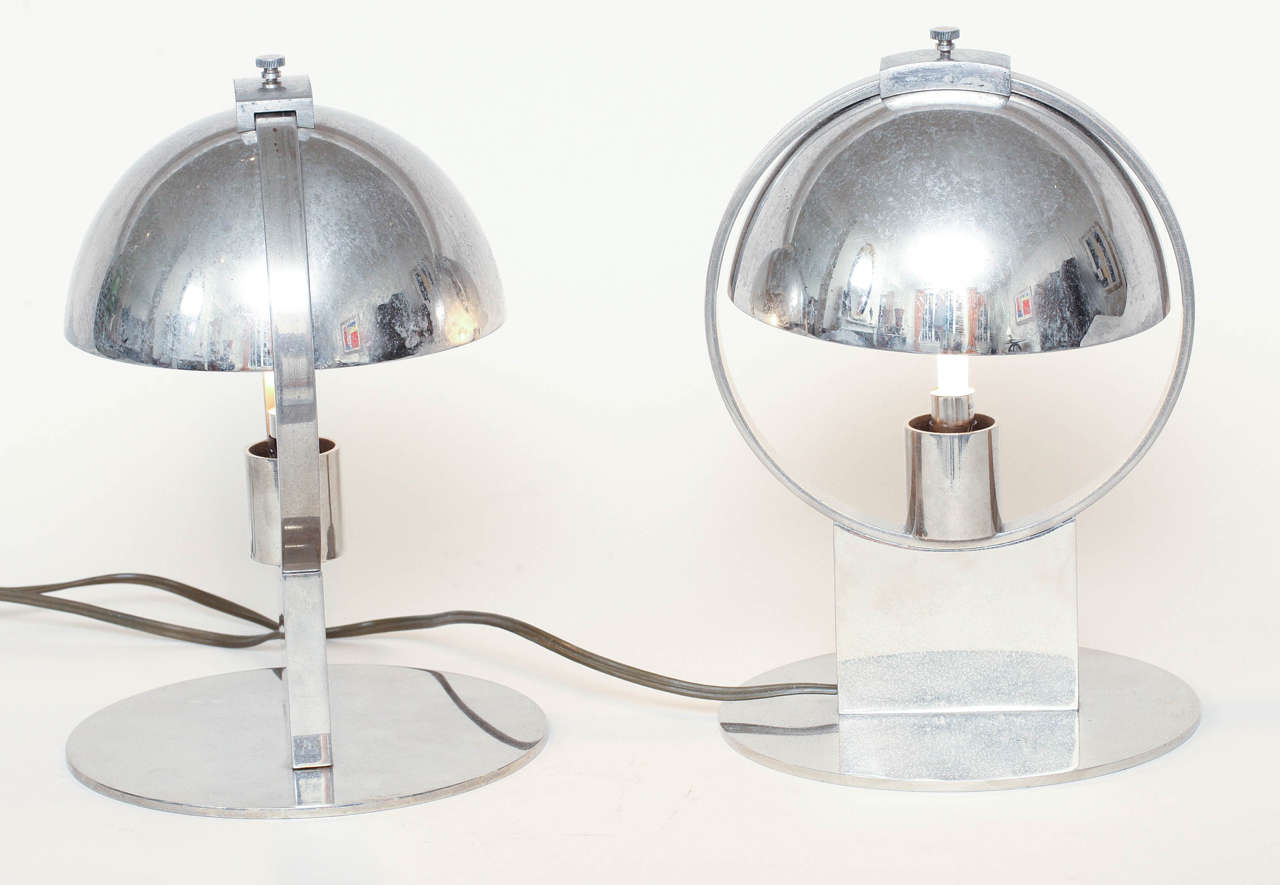 Boris Jean Lacroix Pair of French Art Deco Nickeled-Brass Lamps For Sale 4