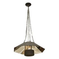 Small Mid Century Octagonal Mirrored Hanging Light Fixture