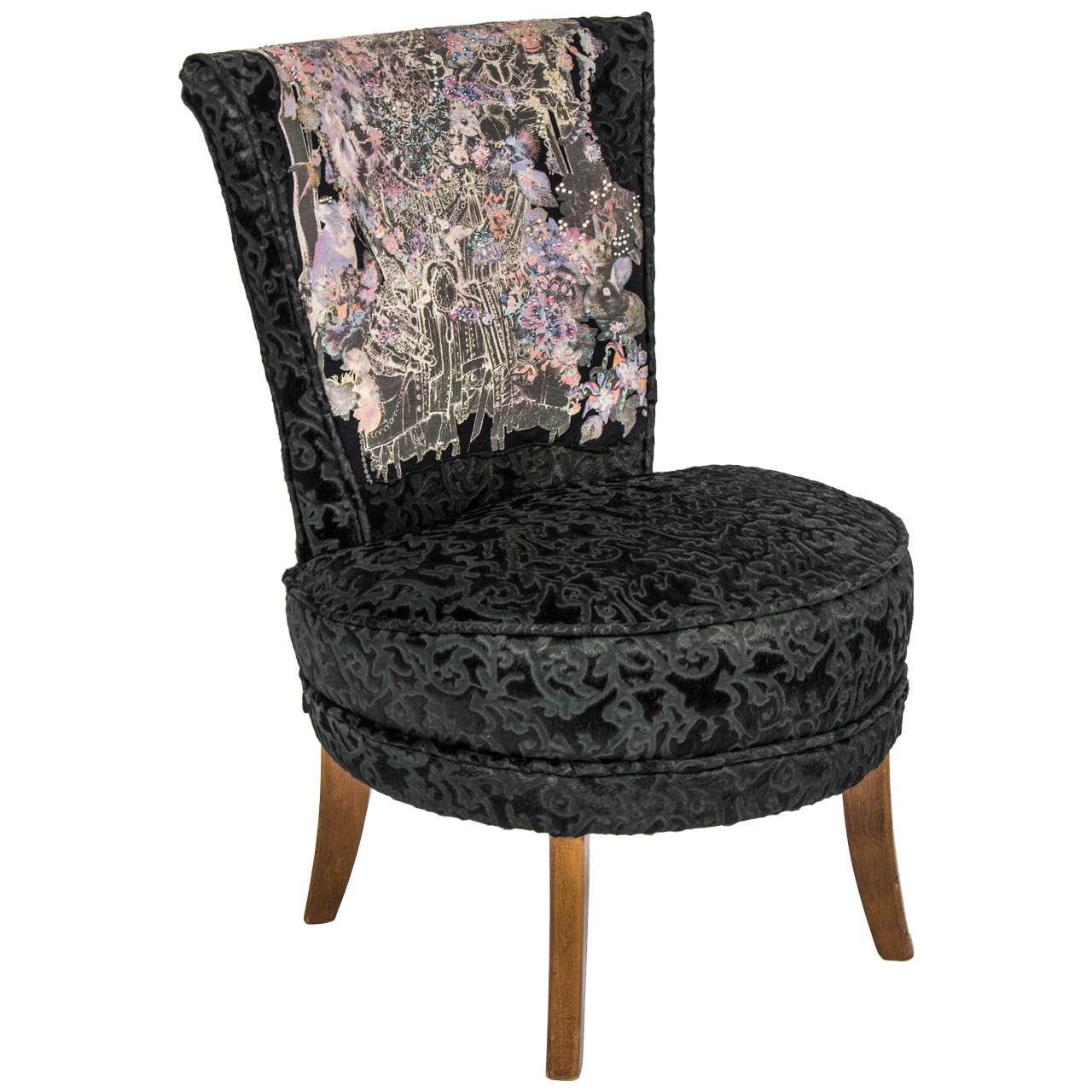 unique rock and roll style small black 39 boudoir 39 chair 1946 at 1stdibs. Black Bedroom Furniture Sets. Home Design Ideas