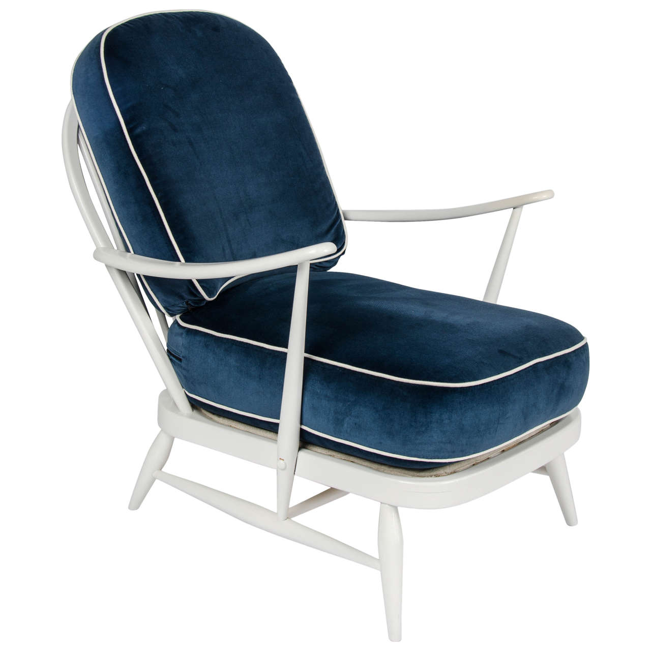 Vintage 1950s Ercol White Wood/Blue Velvet Chair By Lucian Ercolani 1