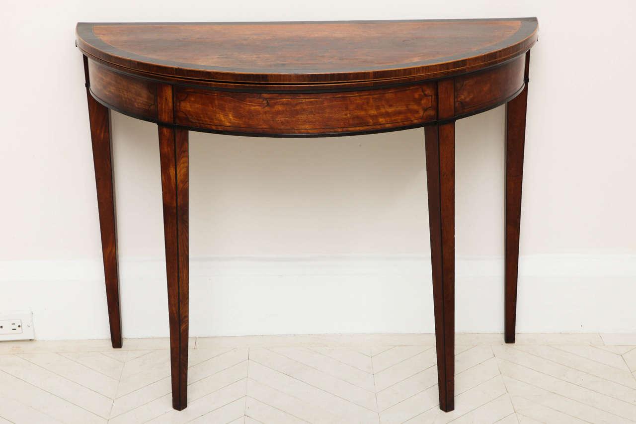 George III Satinwood and Ebony Inlaid Folding Table 2