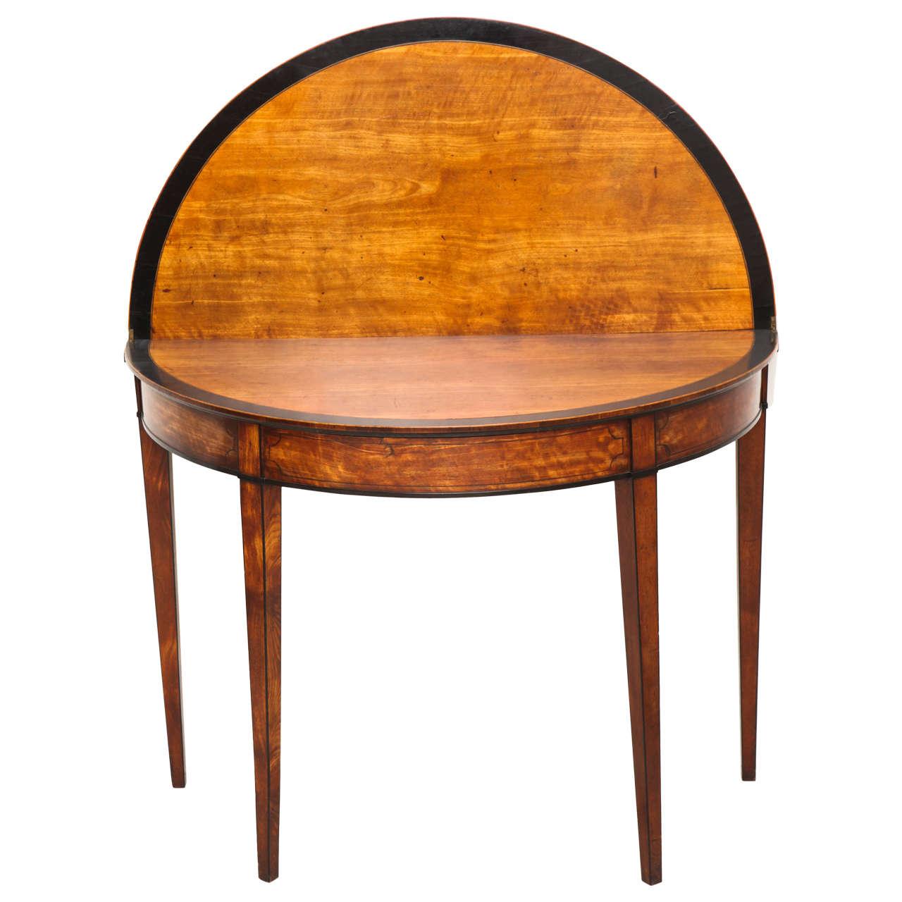 George III Satinwood and Ebony Inlaid Folding Table 1
