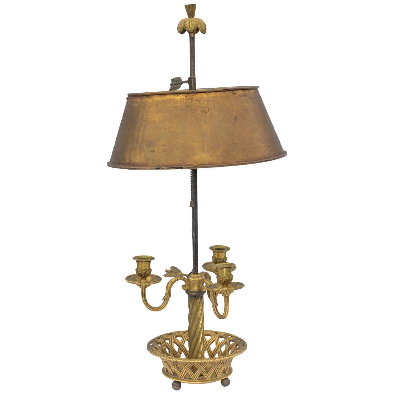 19th Century French Gilt Bronze Bouillotte Lamp