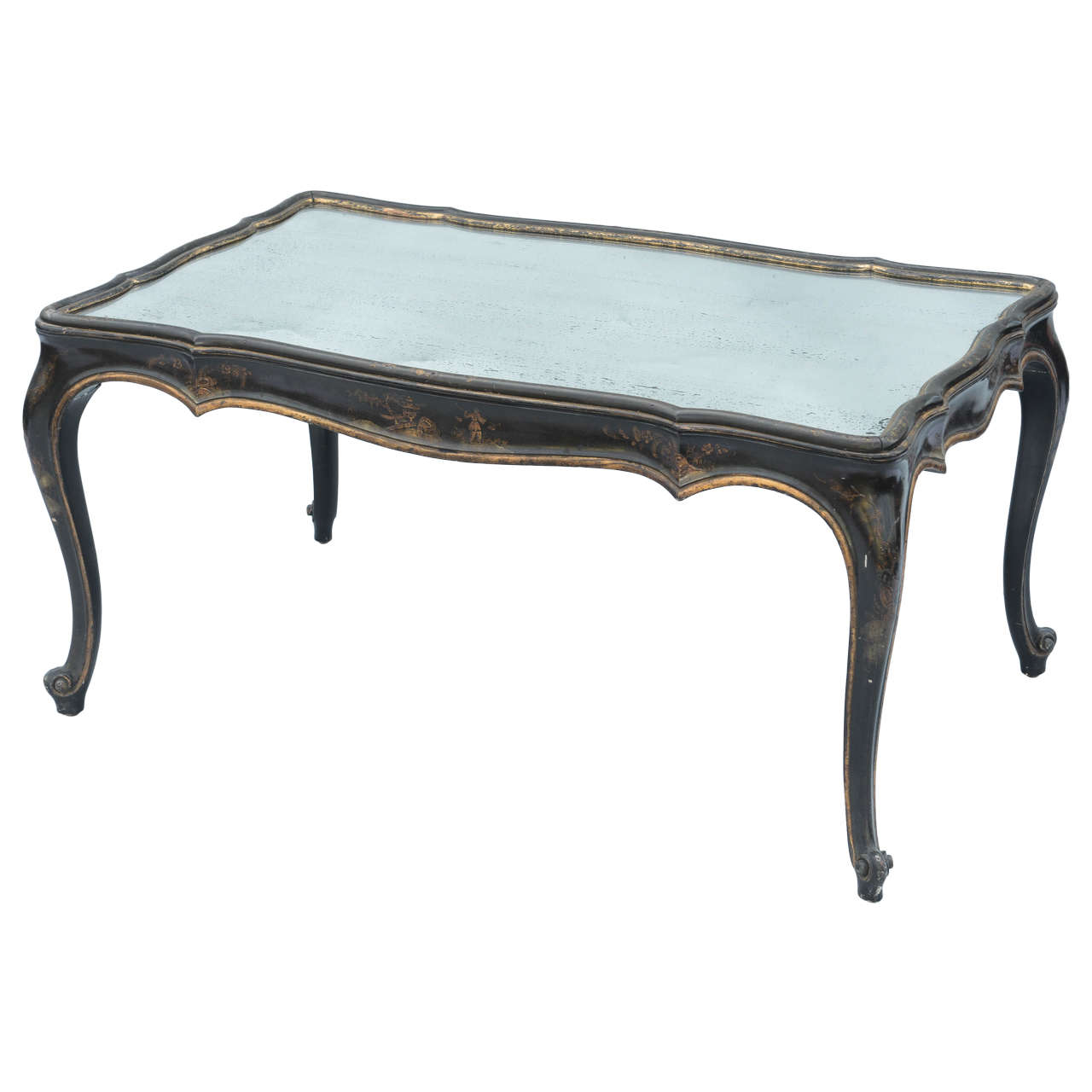 Black Lacquered Chinoiserie Coffee Table With Mirrored Top At 1stdibs