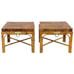 Pair of Italian Olivewood and Rattan End Tables