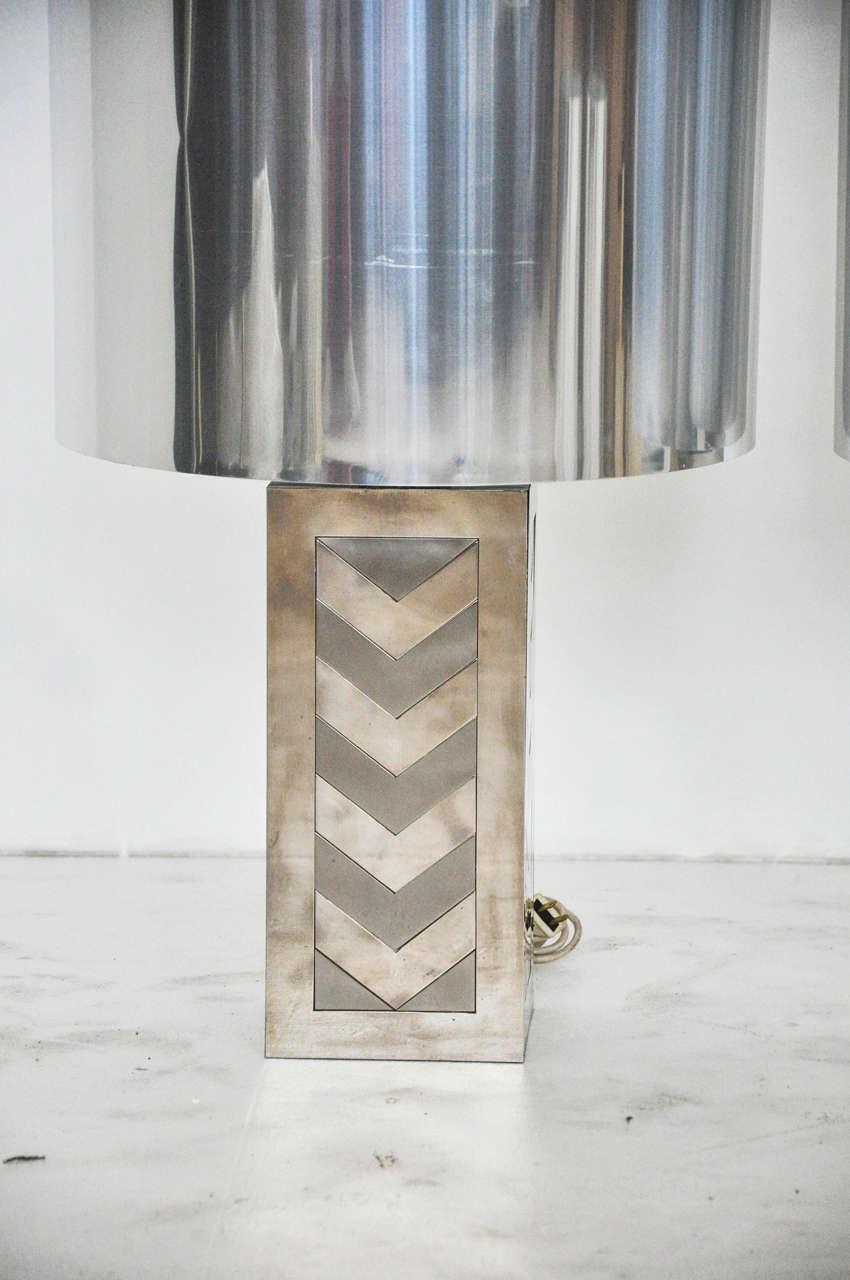 Mid-Century Modern Italian 1970s Chevron Lamps For Sale
