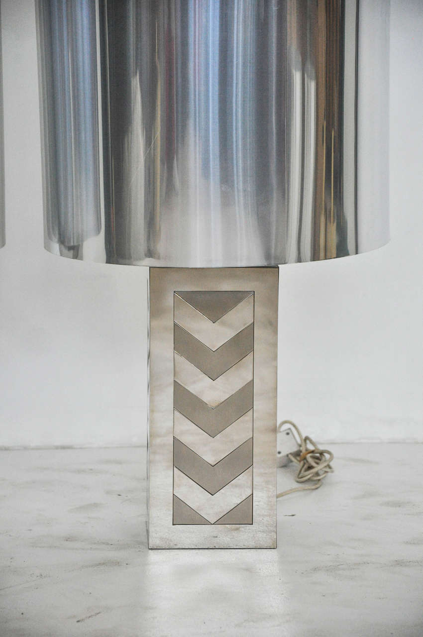 Italian 1970s Chevron Lamps In Excellent Condition For Sale In Chicago, IL