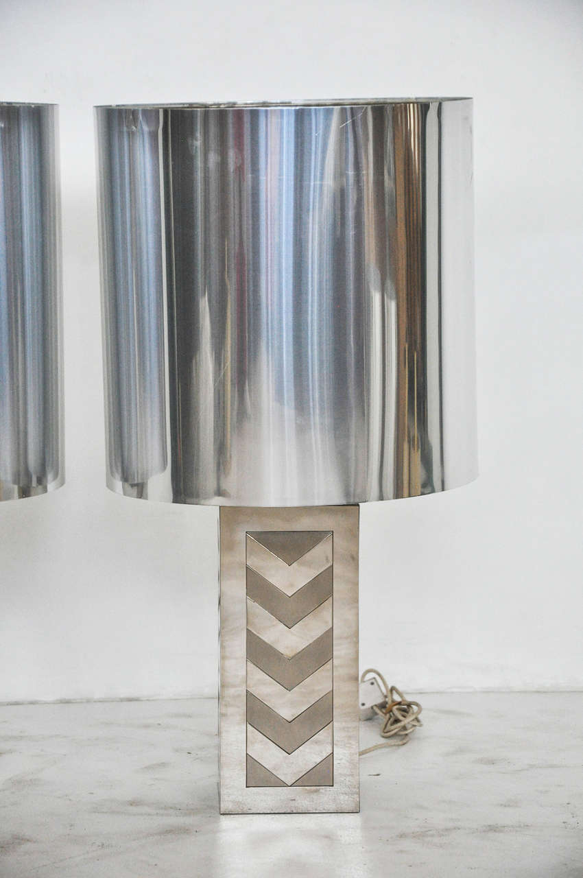 20th Century Italian 1970s Chevron Lamps For Sale