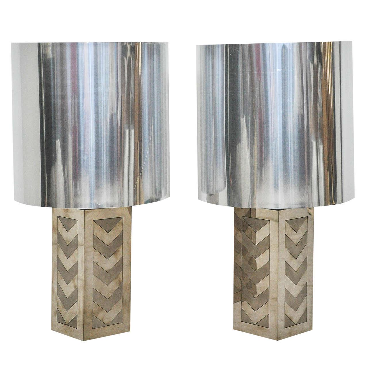 Italian 1970s Chevron Lamps For Sale