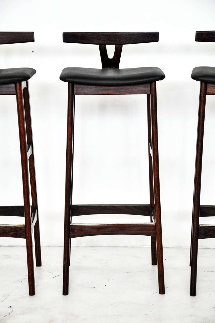 Rosewood And Leather Bar Stools Denmark 1960s At 1stdibs