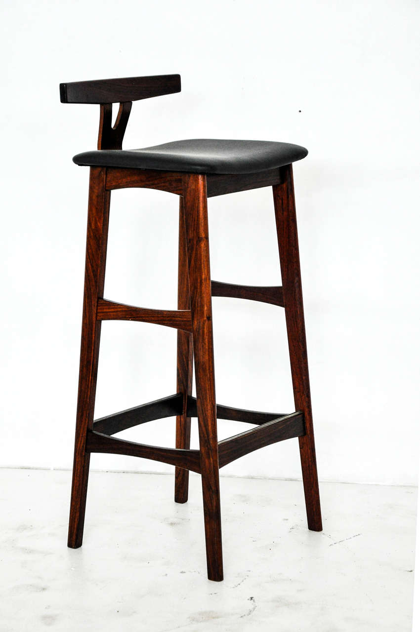 Rosewood And Leather Bar Stools, Denmark, 1960s In Excellent Condition For  Sale In Chicago