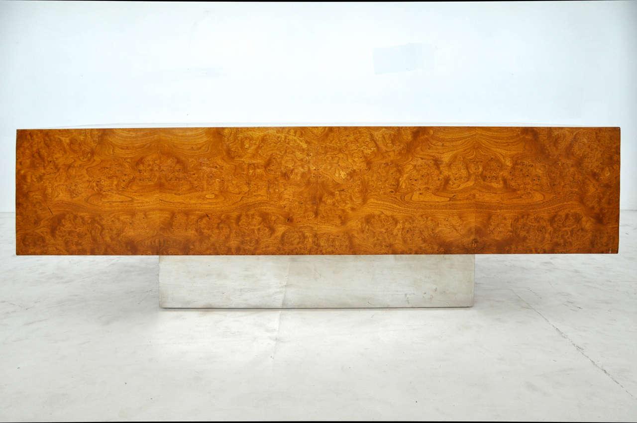 American 1970s Burl Wood and Chrome Executive Desk