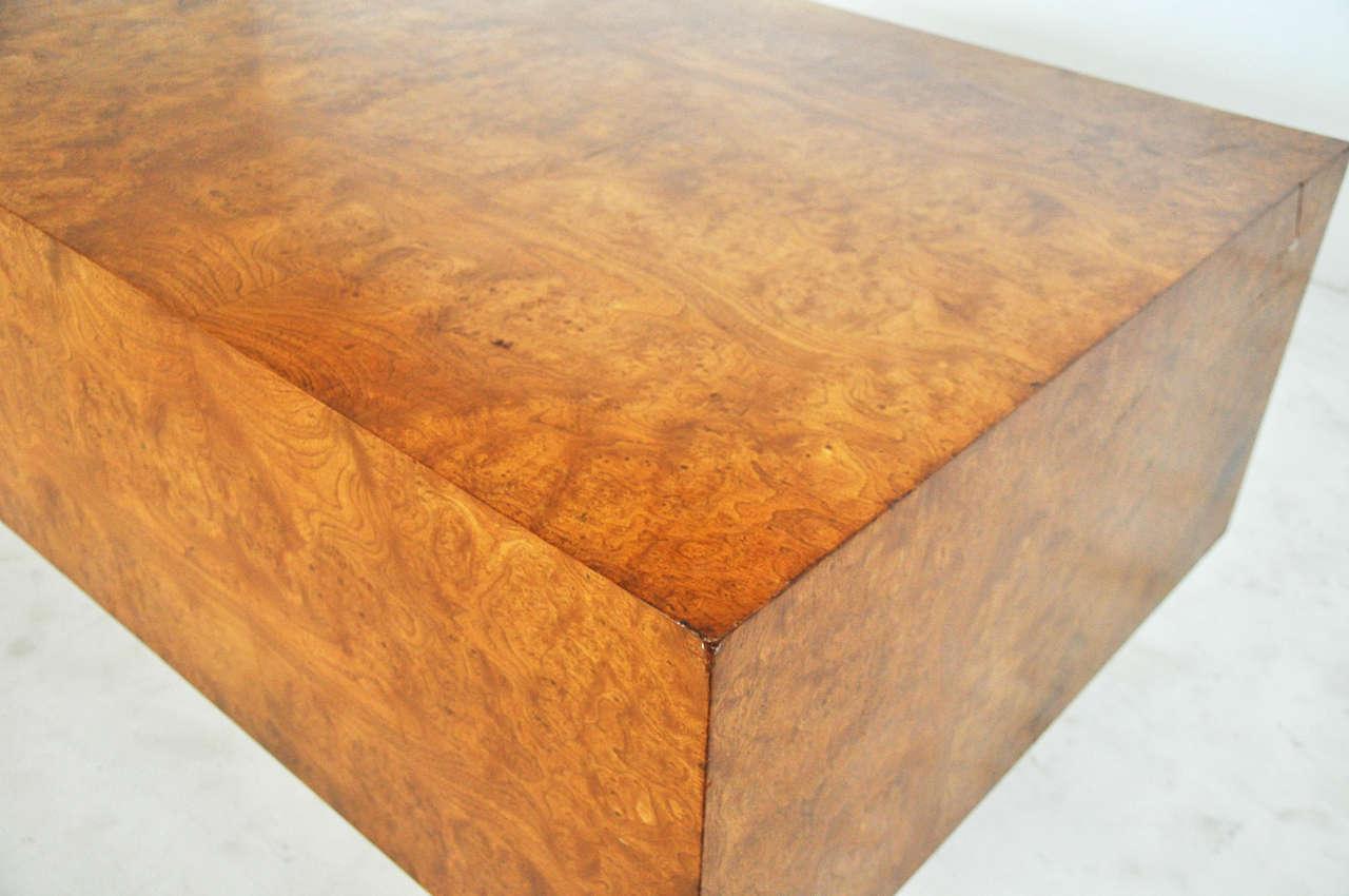 1970s Burl Wood and Chrome Executive Desk 1