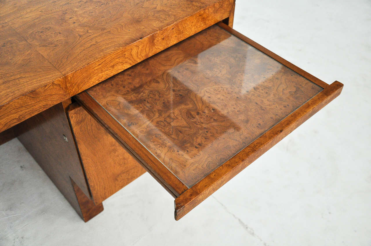 1970s Wood Furniture ~ S burl wood and chrome executive desk at stdibs