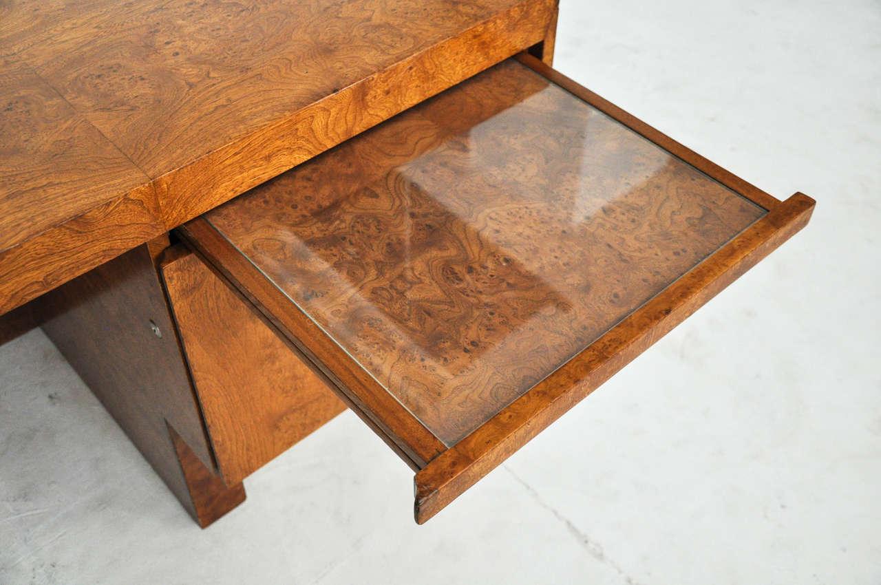1970s Burl Wood and Chrome Executive Desk 2