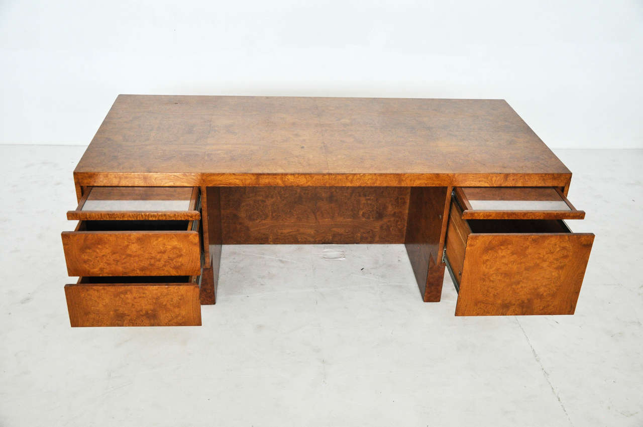1970s Burl Wood and Chrome Executive Desk 3