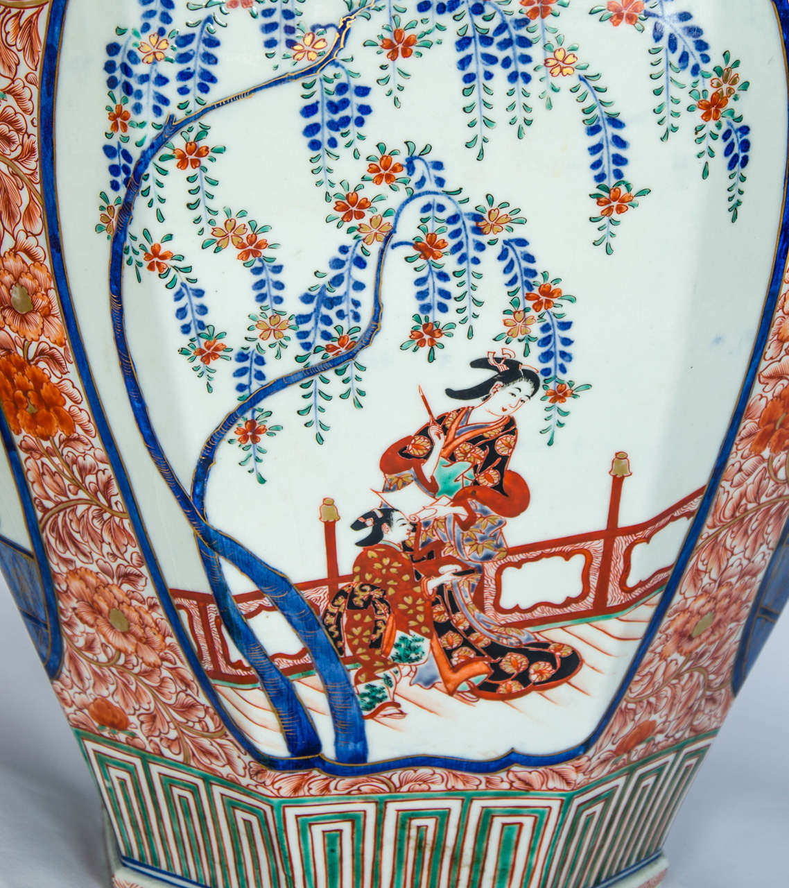 Porcelain Large Pair of Antique Japanese Imari Vases For Sale