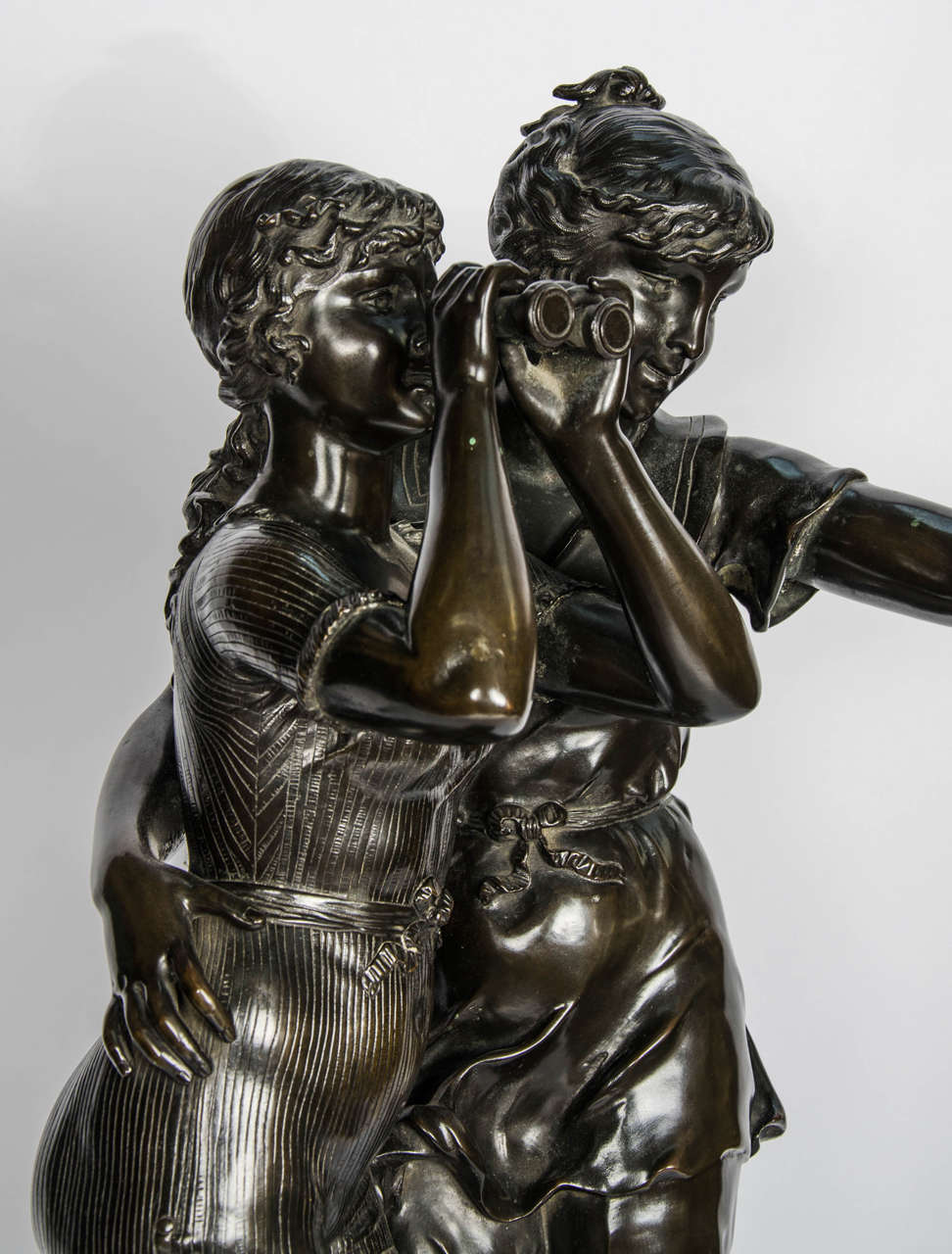 Cast Bronze Study of Two Girls For Sale