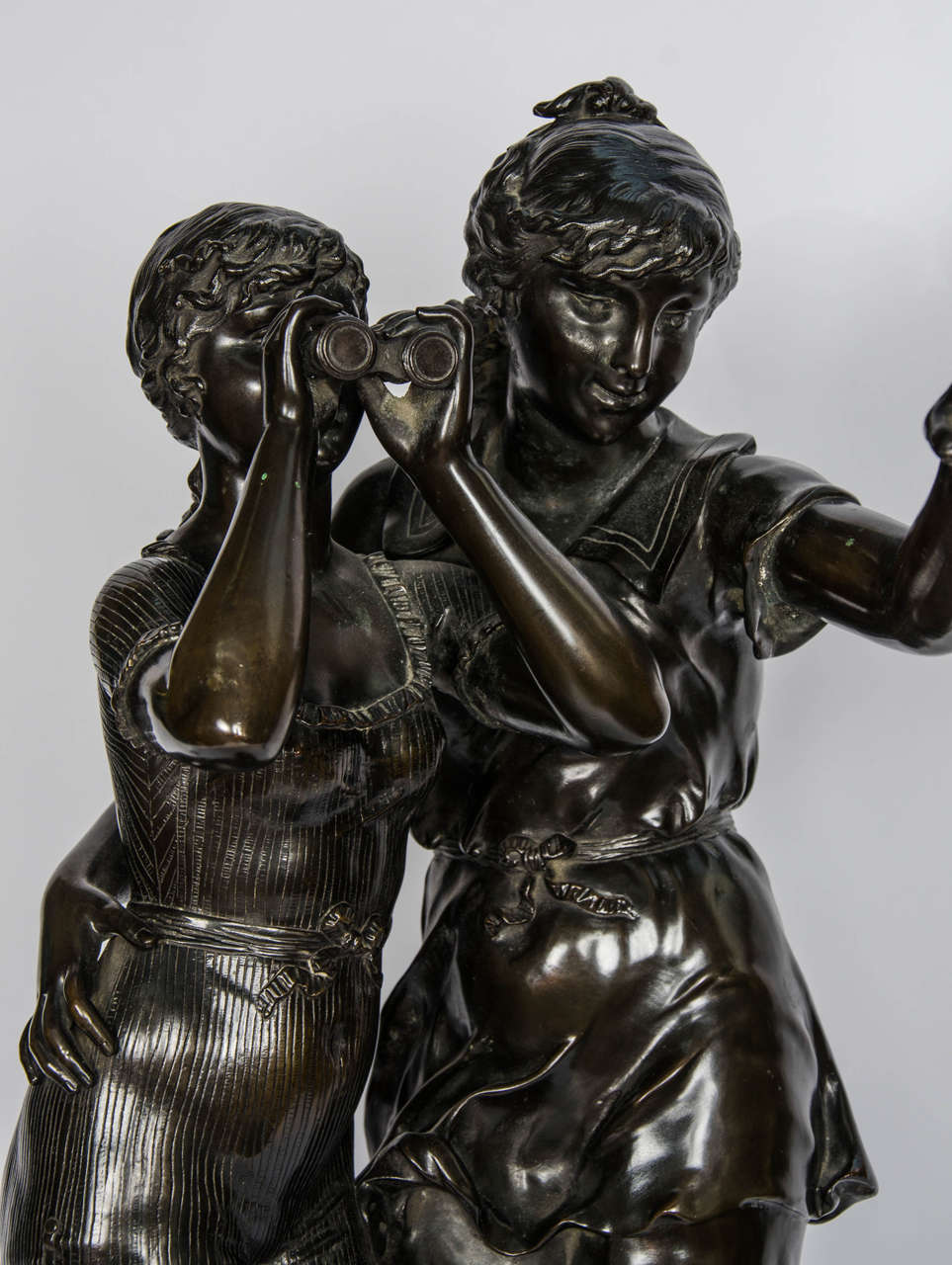 Bronze Study of Two Girls In Good Condition For Sale In Brighton, Sussex