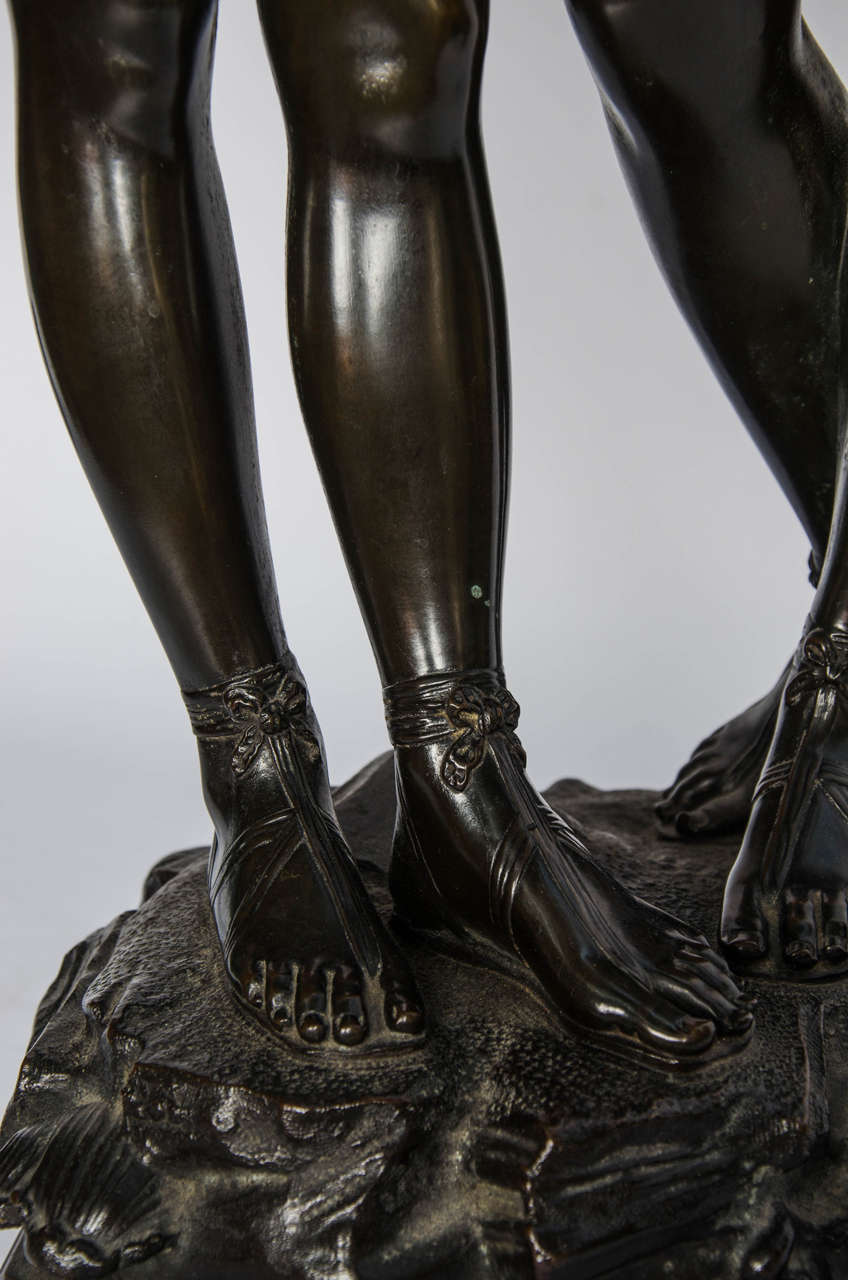 Early 20th Century Bronze Study of Two Girls For Sale