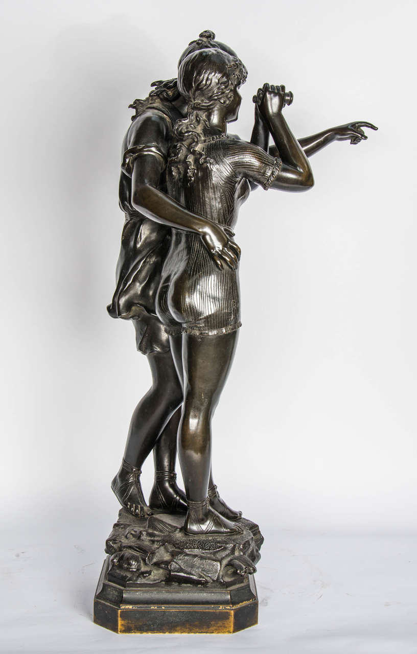 Bronze Study of Two Girls For Sale 1